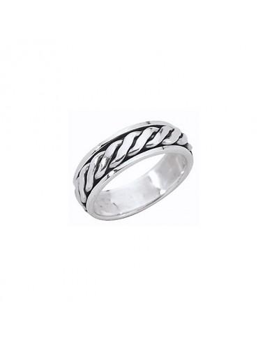 Bague anneau corde tournante en argent 925/1000